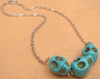 Turquoise Skull Necklace