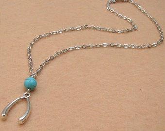 Wish Bone and Turquoise Necklace
