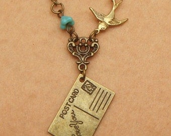 PostCard Bird and Flower Necklace