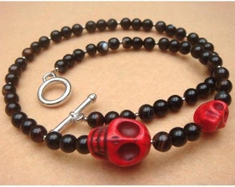 Black Agate Red Turquoise Skull Necklace