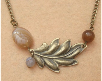 Leaf and Agate Cat Eye  Necklace