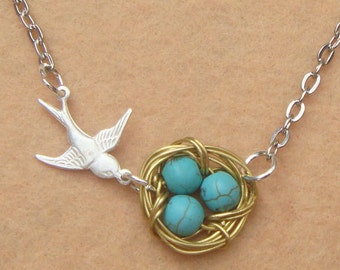 Bird Nest and Turquoise Necklace