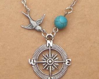 Bird Compass and Turquoise Necklace