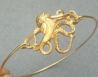 Golden Octopus Bangle Bracelet