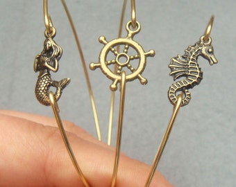 Mermaid Helm and Seahorse Brass Bangle 3 Bracelet Set