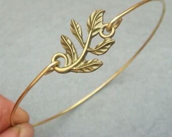 Leaf Brass Bangle Bracelet