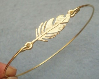 Leaf Brass Bangle Bracelet Style 7