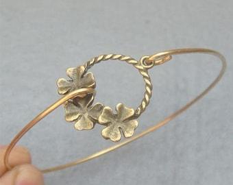 Flower Brass Bangle Bracelet Style 9