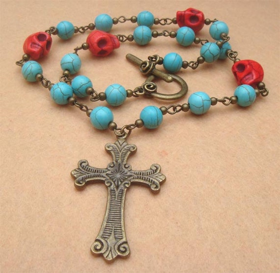Cross and Turquoise Skull Necklace