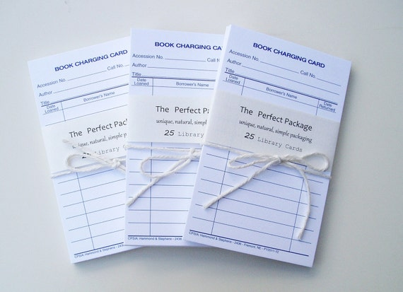 Library Cards White Set of 25