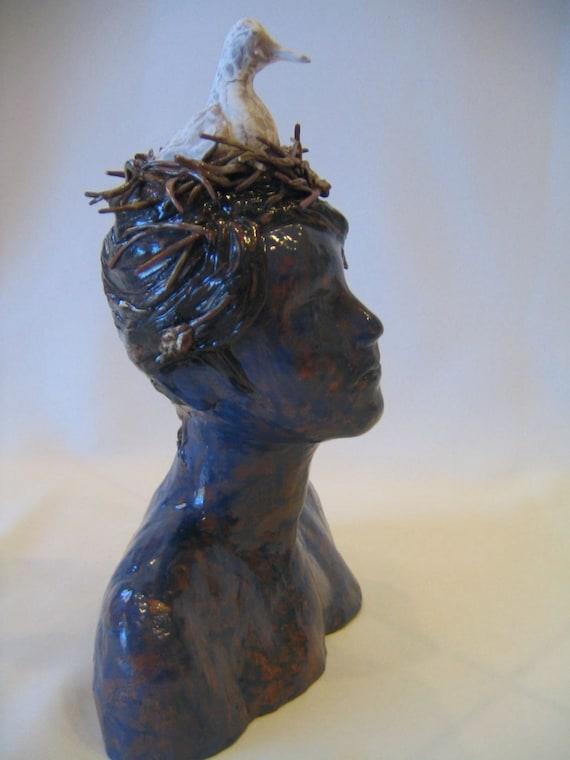 "Thoughtful Dove Bird Nest Woman Lady Blue Ceramic Sculpture Earthenware, ""Bird Nest Lady"""