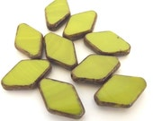 Czech Beads Lime Green Diamond Shaped Pressed Glass, 13 x 19mm - 5 beads