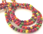 """Multi Colored Howlite 4mm Round Beads - 16"""" Strand"""