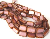 Czech Beads, Coral Pink Picasso Polished Rectangle Beads, 8x12mm - 10 beads