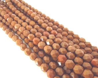 25 Umber Faceted Firepolished 6mm Czech Glass Beads