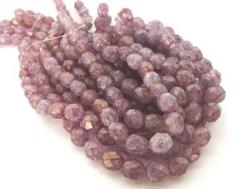 Czech Beads, Stone Pink Firepolished 6mm Beads - 25 beads