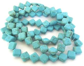 "Turquoise Magnesite Puffed Diamond Beads, 8x8mm - 15"" Strand"