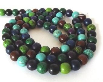 "Multicolored Magnesite Beads, 10mm Round - 15"" Strand"