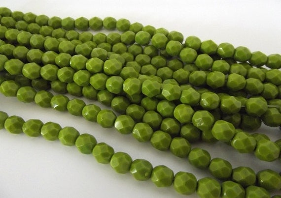 Czech Beads, Opaque Olive Green Firepolished 6mm Beads - 25 beads