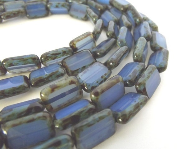 Czech Beads, Milky Sapphire Picasso Finished Rectangle Beads, 8x12mm - 10 beads