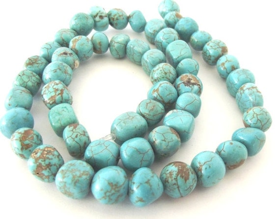 """Chinese Turquoise Nugget Beads - 6 x 7mm - 15"""" Strand"""