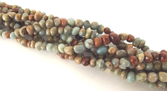 "Natural African Opal Jasper Pebble Nugget beads - 8"" Strand"
