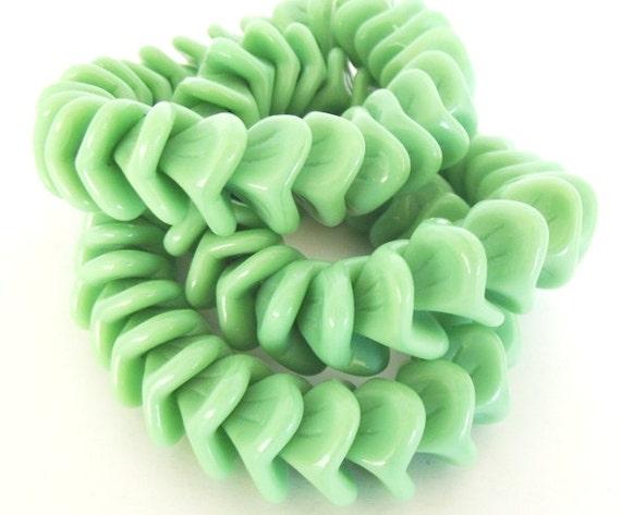 Czech Glass Beads - Green Bell Glass Flower Beads, 3 Petals, 12x9mm - 12 beads