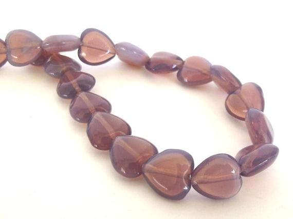 Czech Beads, Amethyst Heart Shaped Beads, 11x12mm - 20 beads