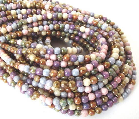 """Czech Glass Beads - Opaque Luster Mix 4mm Smooth Round - 15"""" Strand - 100 beads"""