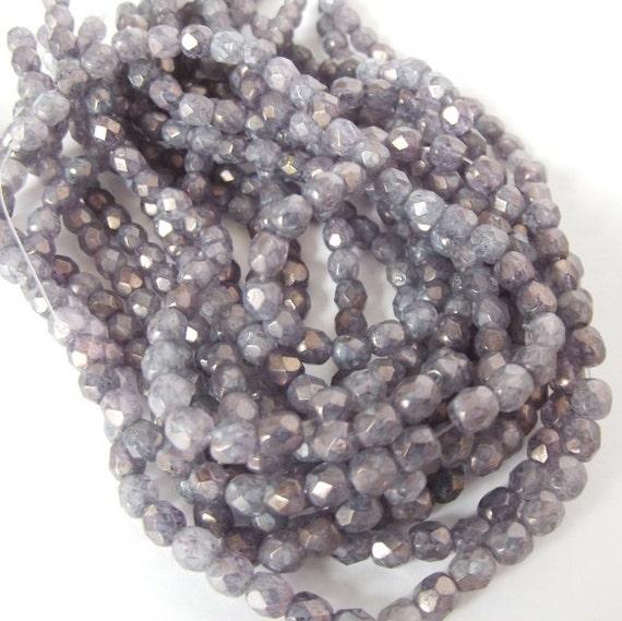50 Luster Stone Amethyst Firepolished 4mm Czech Glass Beads