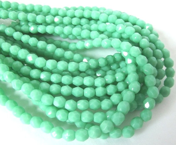 Czech Beads, Green Turquoise Firepolished 4mm Beads - 50 beads