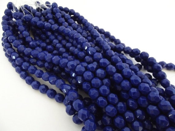 Czech Beads, Opaque Navy Faceted Firepolished 6mm Beads - 25 beads
