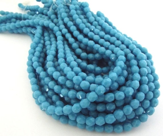 Czech Beads, Blue Turquoise Faceted Firepolished 4mm Beads - 50 beads