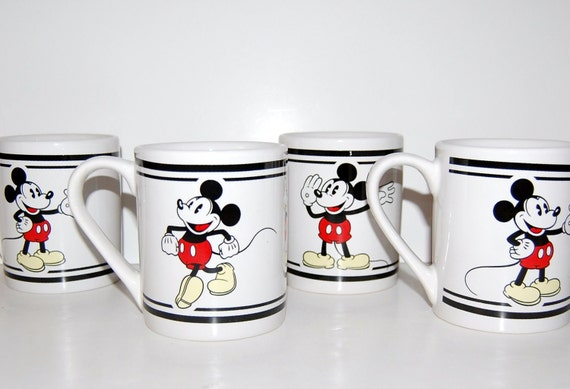 Set of 4 Gibson Mickey Mouse Ceramic Mugs
