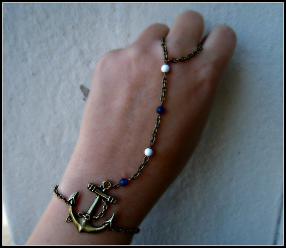 anchor slave bracelet, nautical bracelet, anchor ring, nautical ring, ring bracelet, navy blue and white bracelet