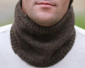 Mens Scarves - Scarfs - Scarves for Men - Neck Gaitor - Infinity Scarf - Scarf - Cowl Scarf - Circle Scarf - Brown Wool Hand Knit