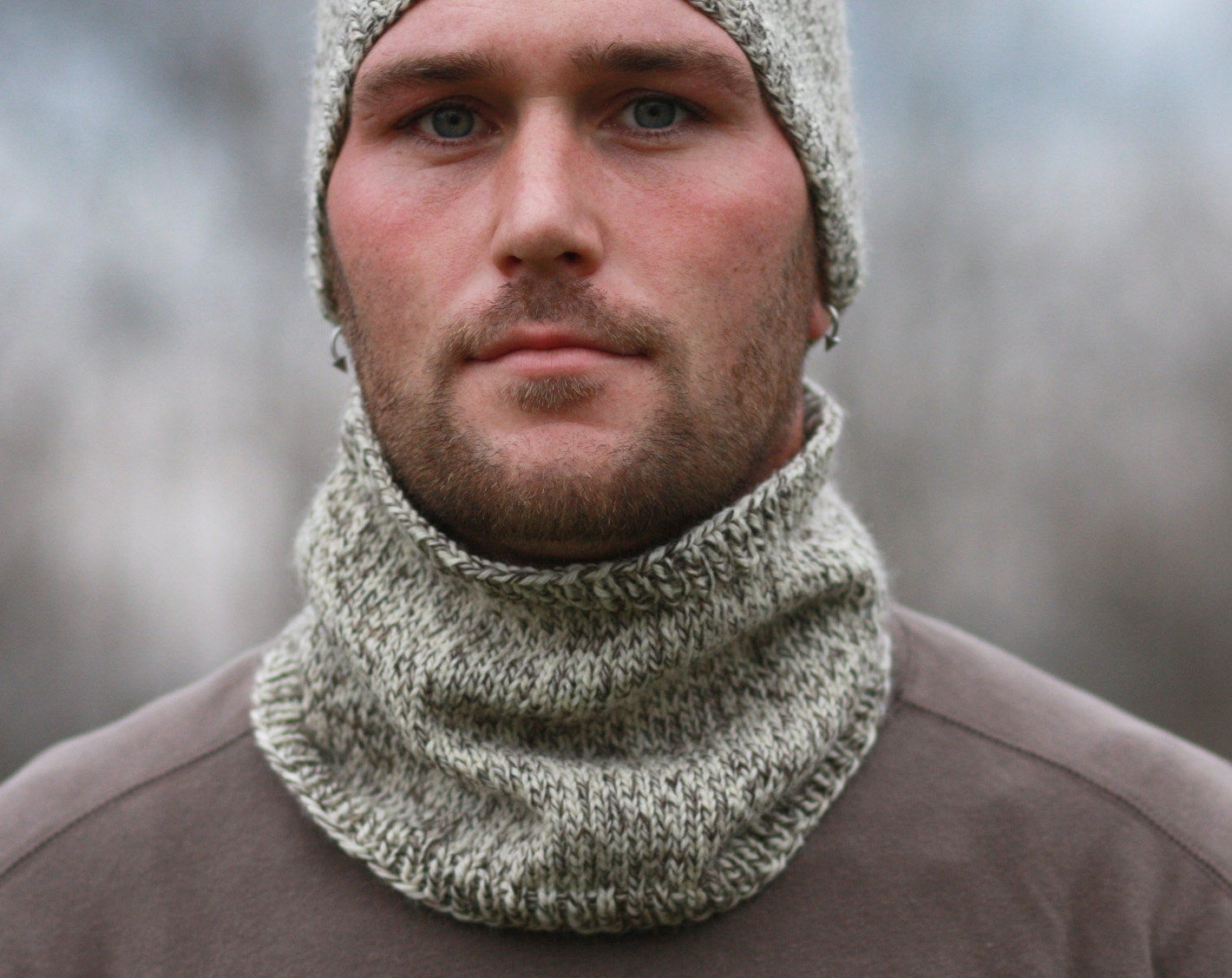 Knit Pattern Cowl Neck Warmer : Mens Knitted Cowl Neck Warmer CUSTOM ORDER by AWalkInTheWoodsKnits