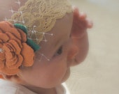 Wool felt rose lace headband with french netting
