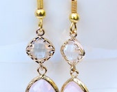 Glam rose quartz and gold faceted gemstone dangle earrings.