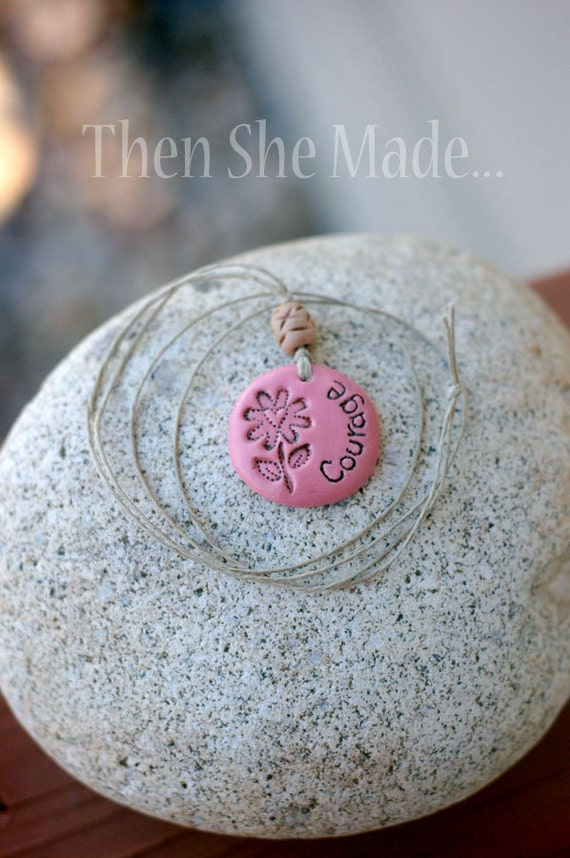 Pink Courage Pendant Necklace