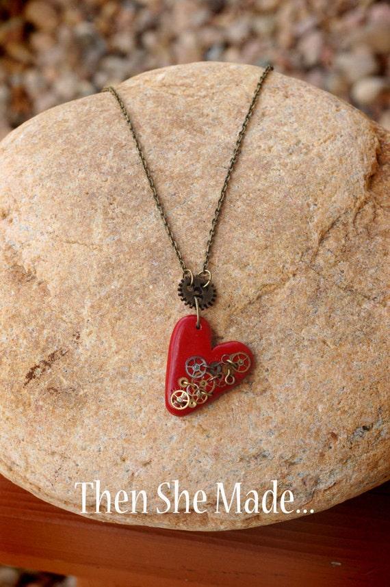 Steam Punk Heart Pendant Necklace