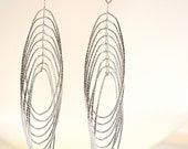 Cascading Multiple Silver Hoops Earrings. Bride. Formal