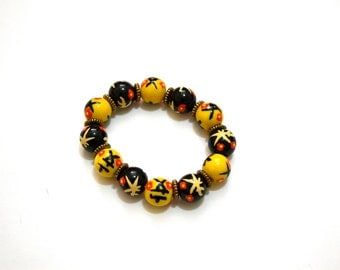 SALE Yellow and Black Chinese Calligraphy Orange Flower- Asian bracelet