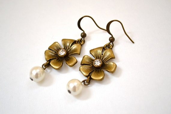 SALE Flower-Bronze Rhinestone  with Pearl Drop  Earring. Spring Easter. Antique Brass. Everyday