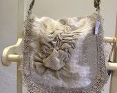 Messenger--Linen Burlap Felt Lace Bag--OOAK Wearable Art