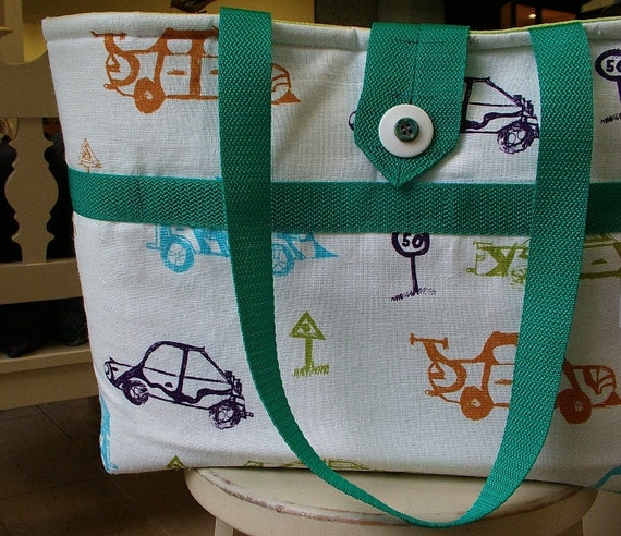 Diaper Bag CARS for Boy / Bag for baby layette / OOAK