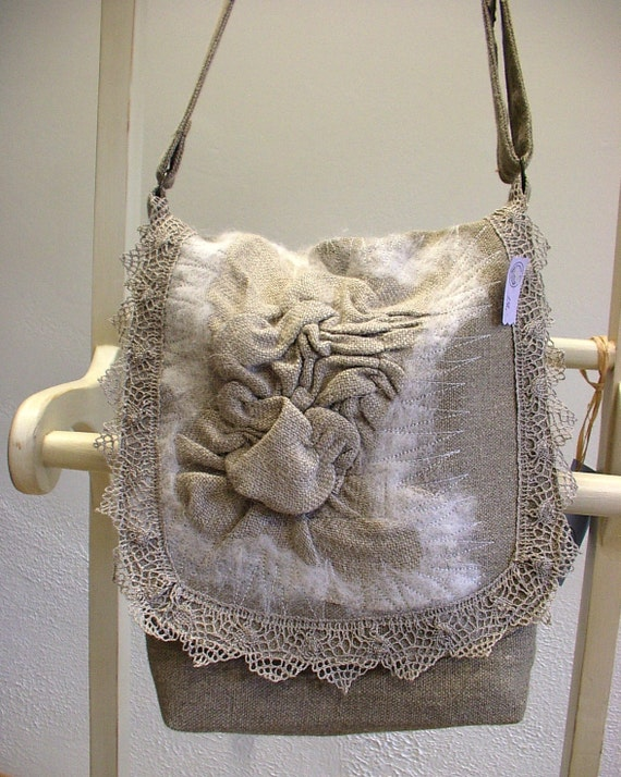 Messenger--Linen Burlap Felt Lace Bag--OOAK Wearable Art