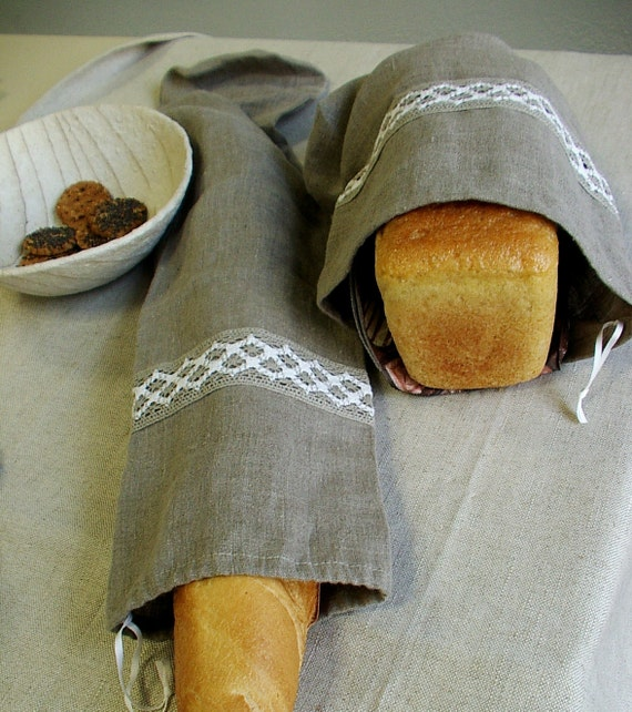 Natural Linen Bag Pouch for Bread--Baguette, Homemade, Artisan Bread--Delicate set of Two