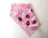 Skull  Dog Bandana Pet Scarf, Animal Print Reversible, Pink Black, Over The Collar, Girl Dog