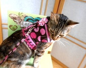 Pink Polka Dot Cat Harness Vest, Reversible Teacup  Dog Clothes, Matching  Pet Leash